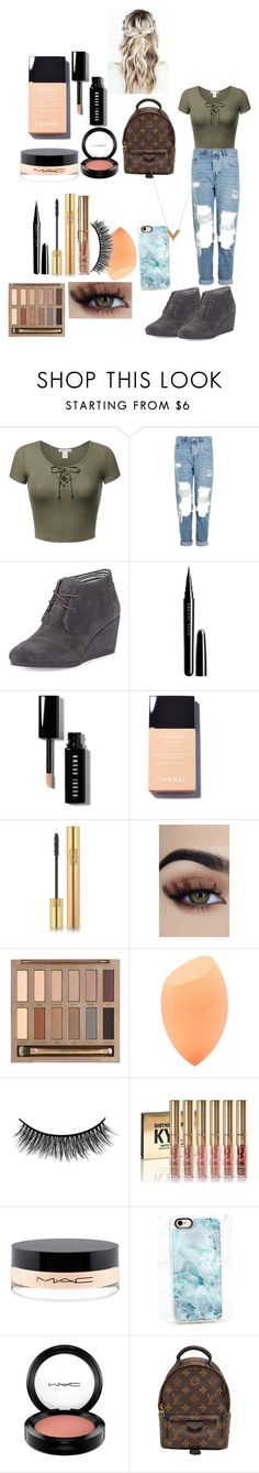 """Untitled #111"" by farahaly ❤ liked on Polyvore featuring Topshop, TOMS, Marc Jacobs, Bobbi Brown Cosmetics, Yves Saint Laurent, Urban Decay, Battington, MAC Cosmetics, Casetify and Louis Vuitton"