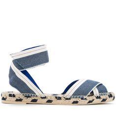 Stella McCartney denim raffia espadrille sandals ($450) ❤ liked on Polyvore featuring shoes, sandals, blue, blue strappy sandals, blue espadrilles, ankle strap espadrilles, woven sandals and ankle wrap sandals
