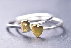 gold inital ring, solid 14k letter, letter ring, alphabet ring, sterling silver, personalized ring, heart ring, name ring, initial jewelry. $75.00, via Etsy.