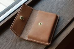 Business Card Holder - Wallet - 2 slots - Full Grain Italian Leather - Handmade in USA Business Card Maker, Leather Business Card Holder, Business Card Holders, Business Cards, Handmade Leather Wallet, Leather Gifts, Sewing Leather, Leather Craft, Leather Carving