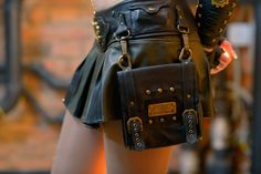 Scout women leather steampunk utility belt with bag by Atomfashion