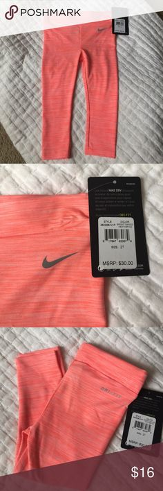 💥NWT! 💥NIKE LEGGINGS NWT NIKE DRI-FIT Leggings! Mango heather color. Small indent on waistband from hanger. Should come out with wear/wash. Nike Bottoms Leggings