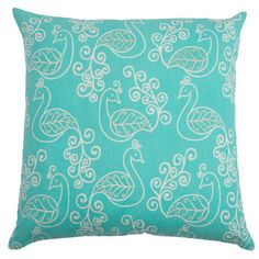 Camille Embroidered Pillow in Aqua  at Joss and Main