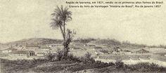 """Região de Ipanema em 1821, vendo-se os primeiros altos fornos do Brasil. Gravura do livro de Vanhargen, """"História do Brasil"""", Rio de Janeiro 1857"""
