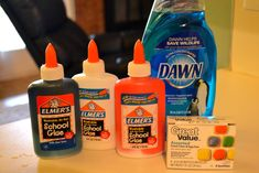 DIY Projects window clings   Step 1:Take your glue bottles (about half-full) and add several drops ...