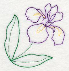 Graceful Iris Corner (Vintage) design (J8072) from www.Emblibrary.com