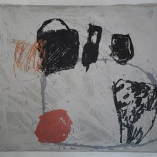 Still Life - Black Pots with Orange and Apple screenprint and monoprint  55cm x 45cm