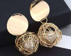 Fashion Statement Earrings Simple Woven Ball Pearl Earrings For Women Hanging Dangle Earrings Drop Earing Modern Jewelry Simple Earrings, Round Earrings, Statement Earrings, Women's Earrings, Modern Jewelry, Unique Jewelry, Indian Jewelry, Dangles, Jewelry Accessories