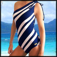 DKNY Diagonal Striped Swimsuit One Piece Shoulder Bathing Suit Swimwear 10 L | eBay