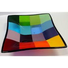 29x29 cm. multisfarvet skål m. kant