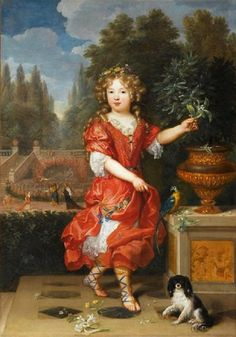 Marie-Anne De Bourbon (1666-1739) with her dog and a parrot,  legitimised daughter of King Louis XIV of France and his mistress Athénaïs, Louise de La Vallière, 1600s - by Pierre Mignard (French artist, 1612-1695)