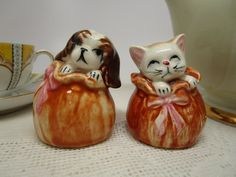 Vintage Cat and Dog Salt Shakers Kitten and Puppy in Ceramic | Etsy Kittens And Puppies, Cute Cats And Dogs, Salt Shakers, Gift Bows, Vintage Cat, Salt And Pepper, Dog Cat, Ceramics, Etsy