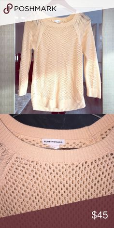 Peach Sweater Adorable peach colored club Monaco sweater. Open knit with 3/4 length sleeves. Club Monaco Sweaters Crew & Scoop Necks