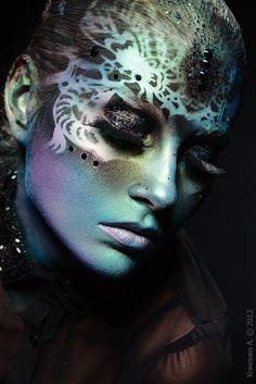 Black jewels and glitter accent artistic  metallic fantasy makeup. KAZIMIRSKAYA | Photo Andrei Khomenko.
