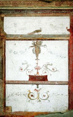 Eros and peacock. Fresco from the House of the Trojan Sacellum. Second style. Ca. 80—20 B.C.Pompeii, The House of the Trojan Sacellum, I 6, 4.