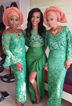 Wedding Guest: Checkout wedding guests in various Lovely Green Guipure Lace Aso-Ebi Outfits | Wedding Digest Naija