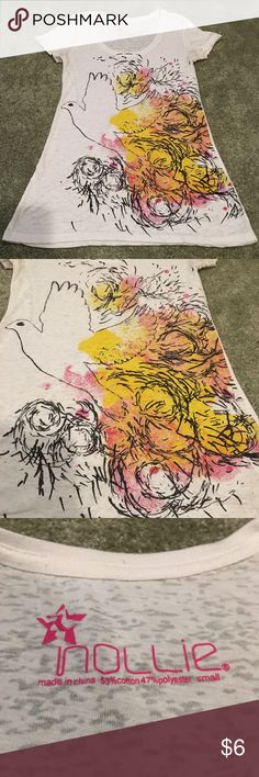 White T-shirt with dove White T-shirt with black imprinted dove flying. Pink orange and yellow colors. Thin lightweight material by Nollie Nollie Tops Tees - Short Sleeve