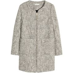 H&M Marled coat (4.865 RUB) ❤ liked on Polyvore featuring outerwear, coats, grey, print coat, h&m coats, h&m, grey herringbone coat and herringbone coat