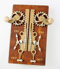 The Green Tree Jewelry Light Switch Plates - Great steampunk aesthetics with intricate gears & levers that actually complicate a simple action!  Designed by Lance Sr., his wife Margie & their son LJ,