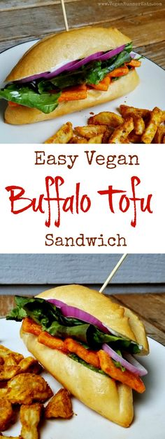 Easy vegan Buffalo Tofu sandwich recipe | buffalo tofu | vegan sandwich recipes | easy vegan recipes | spicy breaded tofu | buffalo tofu wings