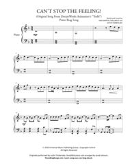 CAN'T STOP THE FEELING! from TROLLS (Short Piano Solo). Justin Timberlake. Simplified piano solo from Piano Brag Songs.