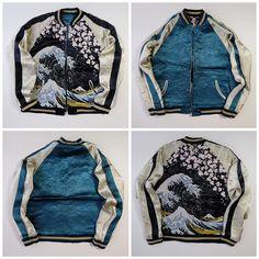 Japan HYAKKA RYORAN Classic Katsushika Hokusai Wave Nami Woodblock Print Sakura Cherry Blossoms Mt. Fuji Fujisan Sukajan Souvenir Jacket (Size: M) - Japan Lover Me Store