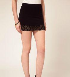 Lace Spliced Black Mini Skirt @ MayKool.com