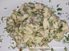 Salata cu piept de pui, ciuperci si maioneza light Potato Salad, Potatoes, Herbs, Ethnic Recipes, Food, Salads, Eten, Herb, Potato