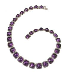Amethyst  necklace with diamonds  and 18k gold