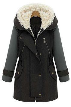 Long-sleeved hooded wool coat