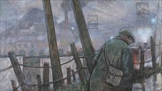 Pit Road with Telegraph Pole and Lights by Norman Cornish