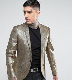 Noose & Monkey Super Skinny Blazer In Gold - Gold