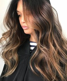 Blonde balayage hair color for brunettes, dark hair with highlights