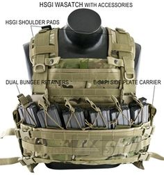 The HSGI WASATCH plate carrier was designed specifically for SFG, whose operators needed a modular system to wear over their issue Interceptor body armor. The WASATCH can be worn over overt or covert soft armor, or as a stand-alone plate system. Tactical Life, Tactical Belt, Tactical Survival, Survival Gear, Bushcraft, Military Gear, Military Equipment, War Belt, Tactical Gear