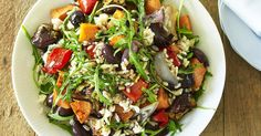 Rice and Roast Vegetable Salad - Delicious! Roasted Vegetable Salad, Vegetable Rice, Roasted Vegetables, Vegetable Dishes, Veggies, Cooking For A Crowd, Food For A Crowd, Coles Recipe, Brown Rice Salad