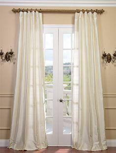 Pearl Textured Dupioni Silk Curtain. lovely length