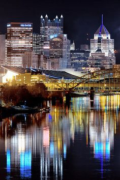 Pittsburgh 2 Canvas Print / Canvas Art by Emmanuel Panagiotakis Pittsburgh Skyline, Pittsburgh Pa, Cincinnati, Great Places, Places To Go, Beautiful Places, Las Vegas, Night City, Best Cities
