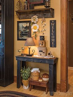 The Country Sampler stylists share easy ways to create living spaces that are buzzing with sunny spring style. Primitive Living Room, Primitive Homes, Country Living Rooms, Prim Decor, Rustic Decor, Primitive Decor, Primitive Country, Country Farmhouse Decor, Farmhouse Kitchen Decor