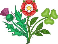 Rose, shamrock and thistle - Wikimedia Commons Scottish Thistle Tattoo, Scottish Tattoos, Girl Neck Tattoos, Body Art Tattoos, Arabic Tattoos, Sleeve Tattoos, Rose Applique, Rose Embroidery, Medieval Embroidery