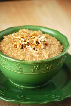 apple cinnamon steel-cut oatmeal, soak the oats overnight so it will cook quickly in the morning