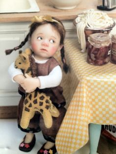 OOAK miniature dollhouse doll in scale 1/12 by Catherine Muniere