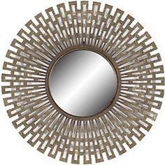 Champagne Geometric Round Wall Mirror