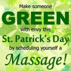 Have you scheduled yourself a St. Patrick's Day massage yet? If not, just call (810) 724-0996 for our Imlay City location or (810) 664-8852 for our Lapeer location to make an appointment! Come to Fulcher's Therapeutic Massage in Imlay City, MI and Lapeer, MI for all of your massage needs! Call (810) 724-0996 or (810) 664-8852 respectively for more information or visit our website lapeermassage.com!