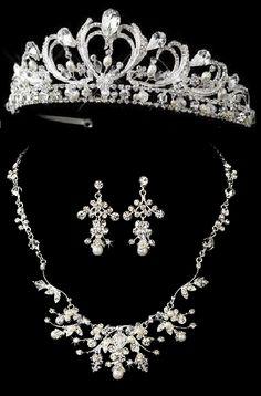 Pearl and Rhinestone Tiara with Jewelry Set
