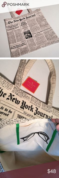 """NWT Kate Spade Large Tote Bag New with tags. Adorable!  Large canvas tote bag. Great to go to the beach, great book bag or for travel!!  Measures 14"""" x 13.5"""". No trades. kate spade Bags Totes"""