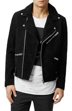 Topman Black Suede Biker Jacket available at #Nordstrom Mmmmmm, edgy!