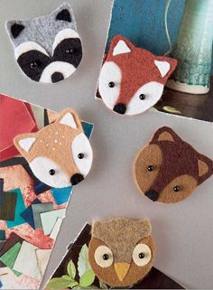 In Crafty Critters from Leisure Arts, appealing woodland animal designs add fun to a collection of home and fashion accessories by Vickie Clontz of Annie's Keepsakes. There are shoulder bags with fox and raccoon faces, a big-eyed owl case for eyeglasses Diy And Crafts, Crafts For Kids, Recycled Crafts, Sewing Projects, Craft Projects, Felt Bookmark, Felt Birds, Book Lovers Gifts, Felt Diy