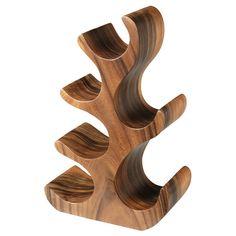 Natchez Acacia Wood 6 Bottle Wine Rack | Wooden Wine Rack Contemporary Wine Rack - Buy at drinkstuff