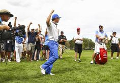 #RoryMcllroy...CHERRY HILLS VILLAGE, CO - SEPTEMBER 07: Rory McIlroy of Northern Ireland celebrates holing out for eagle from the rough on the seventh hole during the final round of the BMW Championship at the Cherry Hills Country Club on September 7, 2014 in Cherry Hills Village, Colorado.  (Photo by Jamie Squire/Getty Images)