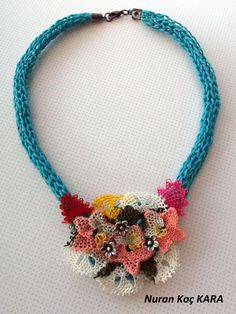 and Blue Necklace - Needlework Necklace - Authentic Necklace - by NuranShop on Etsy Yarn Necklace, Seed Bead Necklace, Blue Necklace, Crochet Necklace, Textile Jewelry, Fabric Jewelry, Beaded Jewelry, Crochet Jewellery, Homemade Necklaces
